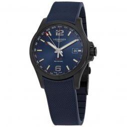 Men's Conquest V.H.P. GMT Rubber Blue Dial Watch