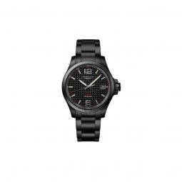 Men's Conquest V.H.P. Stainless Steel Black Carbon Dial Watch