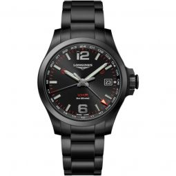 Men's Conquest V.H.P. Stainless Steel Black Dial Watch