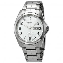Men's Contemporary Stainless Steel White Dial