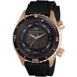 Men's Dual Zone Silicone Black and Transparent Dial