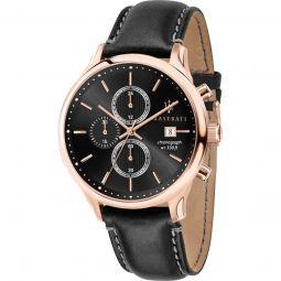 Mens Gentleman Chronograph Leather Black Dial