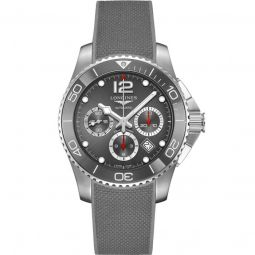 Men's HydroConquest Chronograph Rubber Sunray Grey Dial Watch