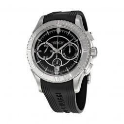 Men's Jazzmaster Seaview Chronograph Rubber Black Carbon Fiber Dial Watch