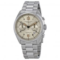 Men's Khaki Pilot Pioneer Chronograph Stainless Steel Ivory Dial Watch