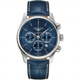 Men's Master Chronograph (Alligator) Leather Blue Sunray Dial Watch