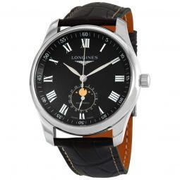 Men's Master Collection Alligator Leather Black 'Barleycorn' Dial Watch