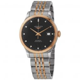 Men's Record Stainless Steel with 18kt Rose Gold (Cap) Black Dial Watch
