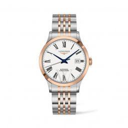 Men's Record Stainless Steel with 18kt Rose Gold (Capped) Links Matt White Dial Watch