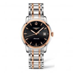 Men's Saint-Imier Collection Stainless Steel with 18kt Rose Gold Links Black Dial Watch