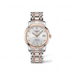 Men's Saint-Imier Collection Stainless Steel with 18kt Rose Gold Links Silver Dial Watch