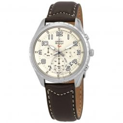 Men's Sports Chronograph Leather Cream Dial Watch