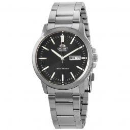Men's Stainless Steel Black Dial Watch