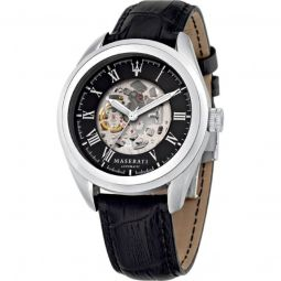 Men's Traguardo Leather Skeleton/Black Dial Watch