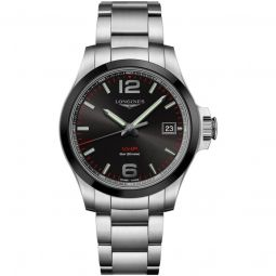 Men's V.H.P Conquest Stainless Steel Black Dial Watch