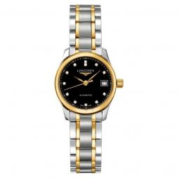 Women's Elegant Yellow-Gold and Silver Stainless Steel Black Dial Watch