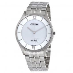 Men's Eco-Drive Stainless Steel White Dial Watch