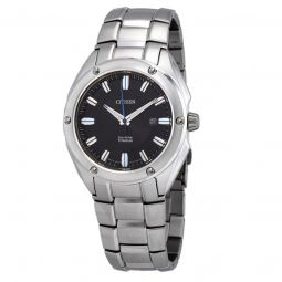 Men's Eco-Drive Titanium Black Dial Watch