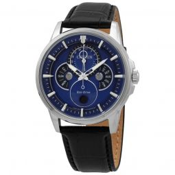 Men's Calendrier Leather Blue Dial Watch