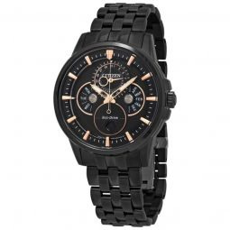 Men's Calendrier Leather Black Dial Watch