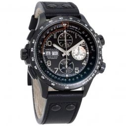 Men's Khaki Aviation X-Wind Chronograph Leather Black Dial Watch