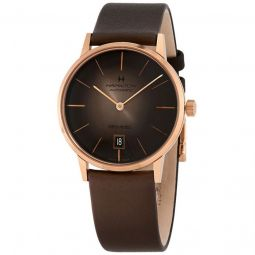 Men's American Classic Intra-Matic Leather Brown Sunray Dial Watch