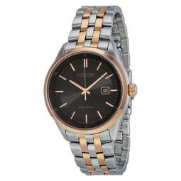 Men's Bracelet Two-tone (Silver and Rose Gold-tone) Stainless Ste Black Dial Watch