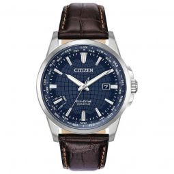 Men's Brycen World Time (Croco-Embrossed) Leather Blue Dial Watch