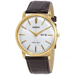 Men's Capital Leather White Dial Watch