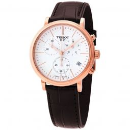 Men's Carson Premium Chronograph Leather White Dial
