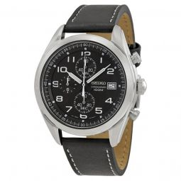 Men's Chronograph Leather Black Dial Watch