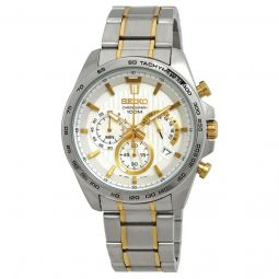 Men's Chronograph Stainless Steel White Dial Watch