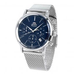 Men's Classic Stainless Steel Mesh Blue Dial Watch
