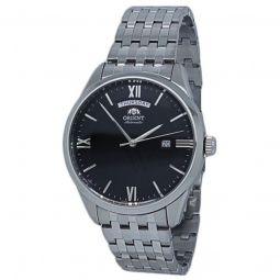Men's Contemporary Stainless Steel Black Dial Watch