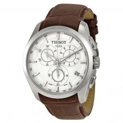 Men's Couturier Chronograph Brown Leather Silver Dial Watch
