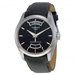 Men's Couturier Leather Black Dial Watch