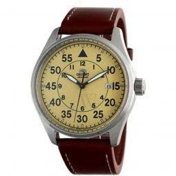 Men's Defender Leather Champagne Dial Watch