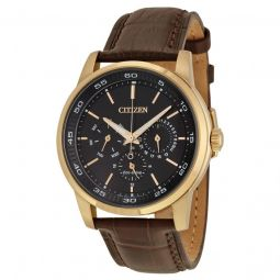Men's Dress Brown Leather Black Dial Watch