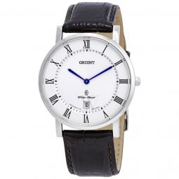 Men's Dressy Leather White Dial Watch