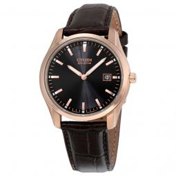 Men's Eco-Drive Brown Leather Black Dial