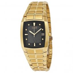 Men's Eco-Drive Gold-tone Stainless Steel Black Dial Watch