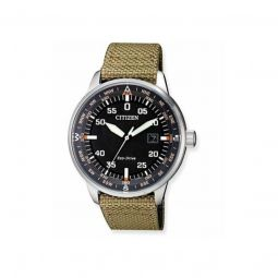 Men's Eco-Drive (Nylon) Fabric Black Dial Watch