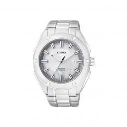 Men's Eco-Drive Titanium White Dial Watch