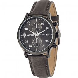 Mens Epoca Chronograph Leather Black Dial