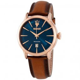 Men's Epoca Leather Blue Dial Watch