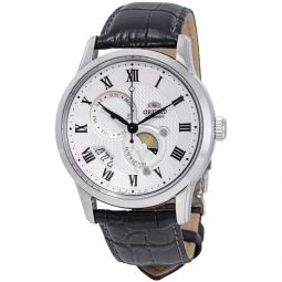 Men's Executive Sun and Moon 3 Leather White Dial Watch