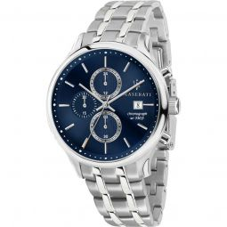 Men's Gentleman Chronograph Stainless Steel Blue Dial Watch