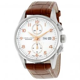 Men's Jazzmaster Chronograph Leather White Dial Watch