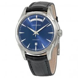 Men's Jazzmaster Day Date Auto Leather Blue Dial