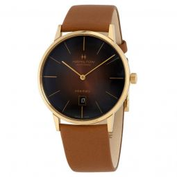 Men's Jazzmaster Intra-Matic Calf Leather Brown Sunray Dial Watch